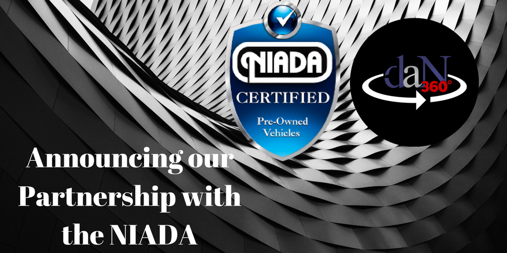 """the dealer assist now logo, the NIADA logo, over an artistic gradient background with the words """"Announcing our Partnership with the NIADA"""